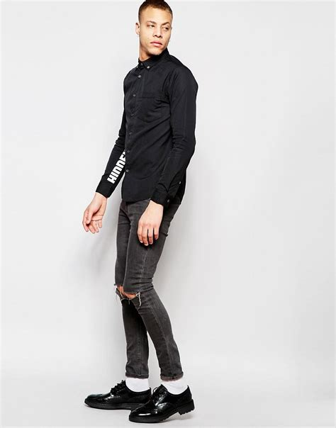 Mens Shirt Izzue izzue shirt with printed sleeves in regular fit in black