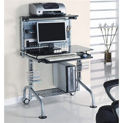 glass computer desk walmart innovex glass computer workstation with monitor and