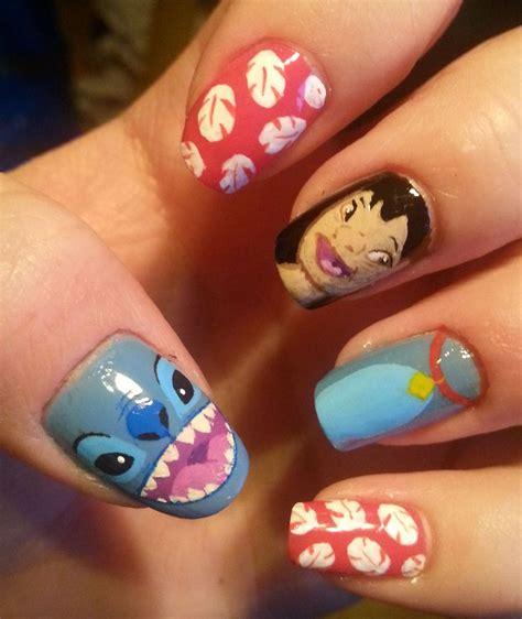 tutorial nail art stitch lilo and stitch nail art pinterest