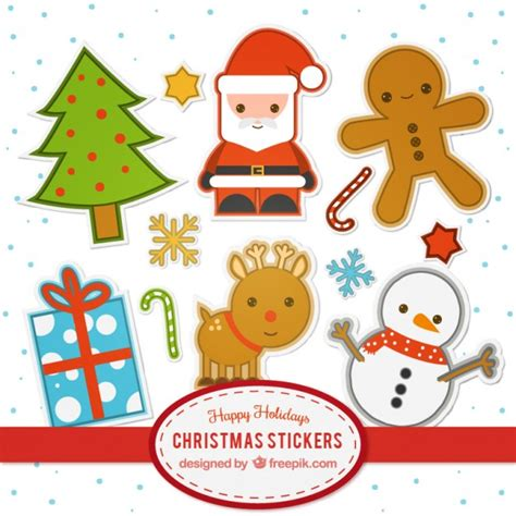 Stiker Natal Sticker 2 flat stickers collection vector free