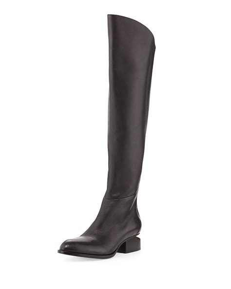 wang sigrid lift heel leather knee boot in black