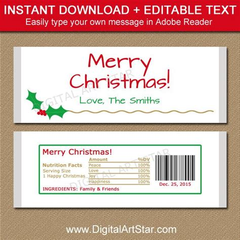 Christmas Candy Bar Wrapper Template Printable Holiday Wrapper Labels Templates