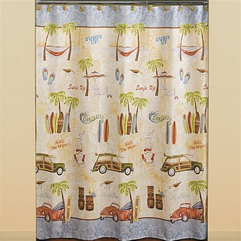 surfer shower curtain gone surfing fabric shower curtain bed bath beyond