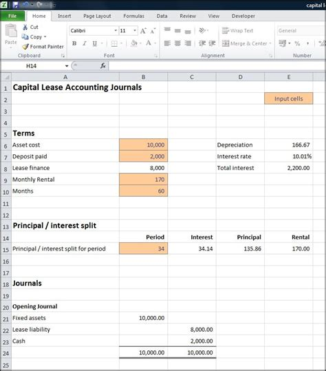 capital lease template accounting for capital leases calculator 171 entry
