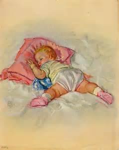 Retro Nursery Decor Vintage 1950s Baby Lithograph Print Nursery Decor