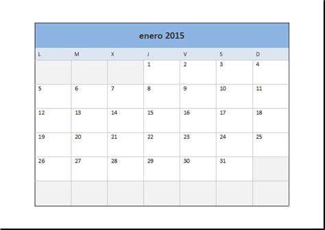 Calendario Por Dia Calendario 2015 En Excel Excel Total