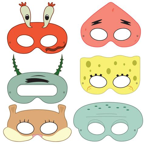 printable spongebob birthday decorations spongebob squarepants inspired character printable masks