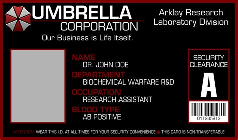 umbrella corporation id card template umbrella corporation i d card template by apollolv on