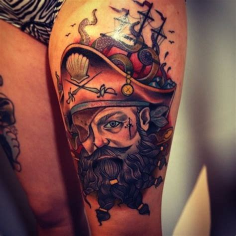 tattoo old school pirate stunning old school style colored big pirate captain