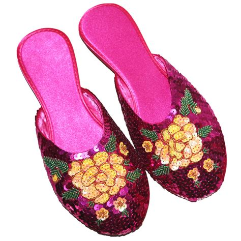 asian house slippers vintage round toe house slippers sequins embroidered chinese folk style silk slipper