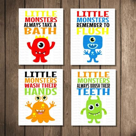 Unisex Kids Bathroom Ideas by Instant Download Printable Monster Bathroom Art Set Room