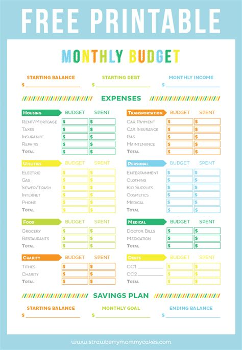 free budget templates printable printable budget sheets on monthly budget
