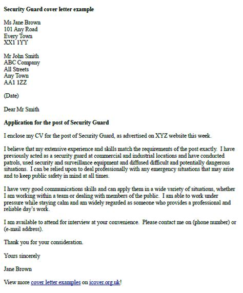 cover letter for security position security guards companies
