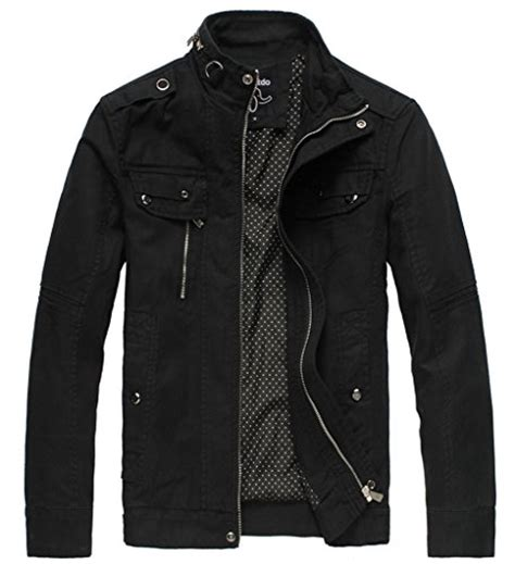 mens cotton stand collar lightweight front zip jacket