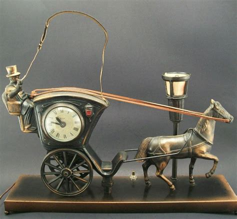vintage united horse  carriage moving clock model