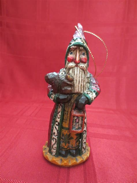 wood carved ornaments carved wood santa ornament collectors weekly