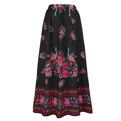 s summer flower print high waist maxi skirt n14107