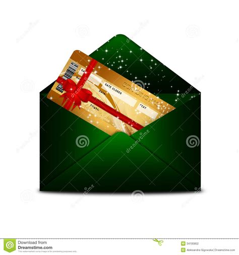 christmas fly air ticket in green envelope isolated over