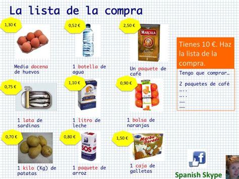 spanish skype lessons en el supermercado la lista de la compraen el supermercado la lista de