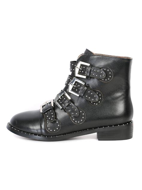 black studded multi buckle ankle boots choies