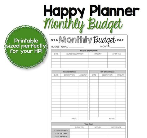 happy planner monthly printable happy planner monthly budget printable by