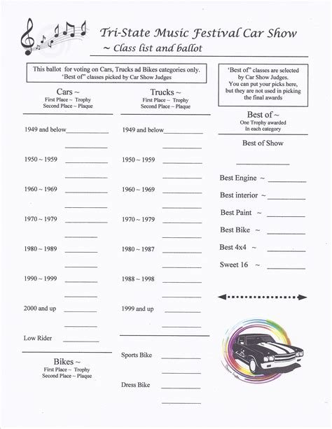 voting form template best photos of car show categories sheet car show awards