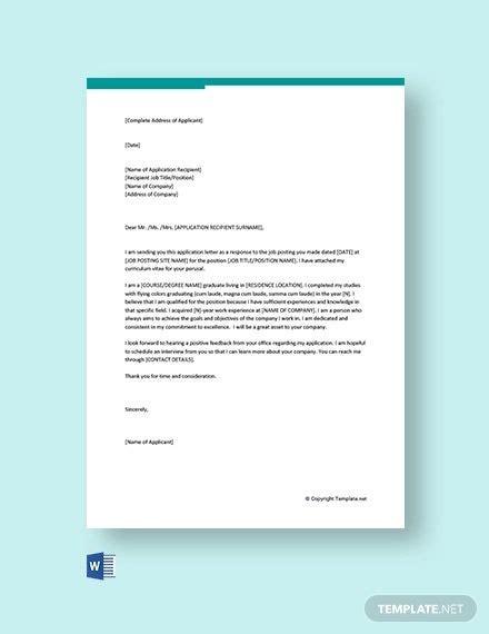 general application letter position
