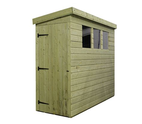 8 x 3 pressure treated tongue and groove pent shed with 3