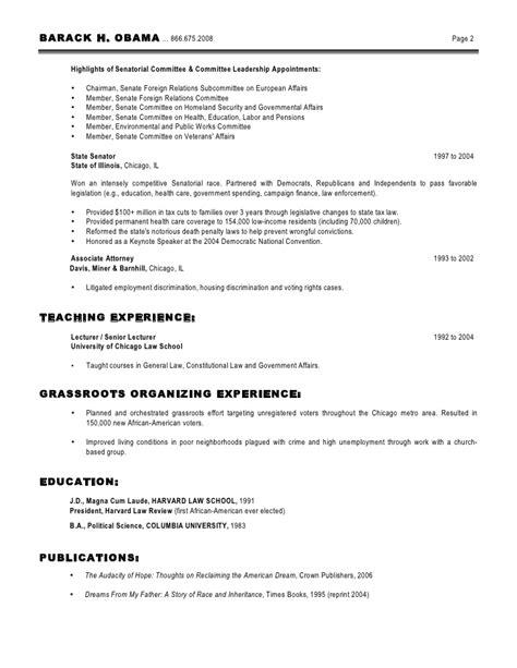 Obama Resume by Obama Resume