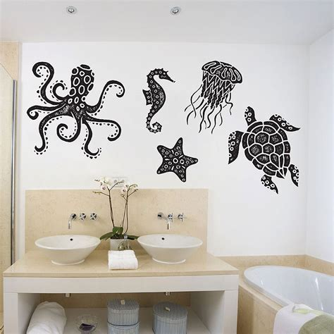 Sea Animals Octopus Turtle starfish Jellyfish Sea horse Vinyl Wall Art Decal