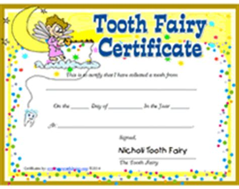 tooth fairy certificate template blank