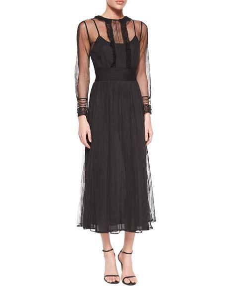 Sleeve Chiffon Midi Dress valentino sleeve chiffon midi dress in black lyst