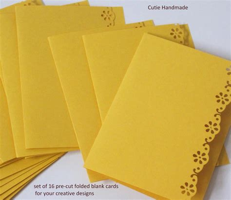 Gift Card Supply - 16 die cut folded blank cards supplies paper goods card making handmade note