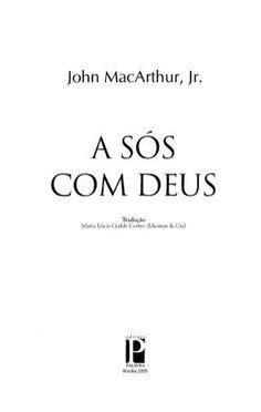 A sós com deus (john mac arthur jr)melhor livro em 2020