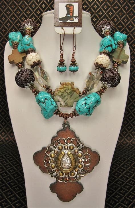 western pendants for jewelry turquoise western necklace set with rustic cross