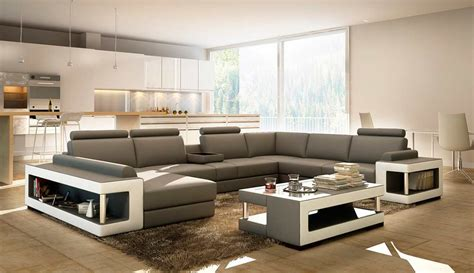 Leather Sofas And Sectionals Grey And White Leather Sectional Sofa With Coffee Table