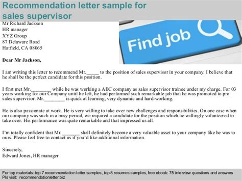 Recommendation Letter Sle Supervisor Sales Supervisor Recommendation Letter
