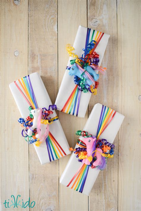 easy way to gift wrap easy rainbow ribbon gift wrap tutorial using inexpensive