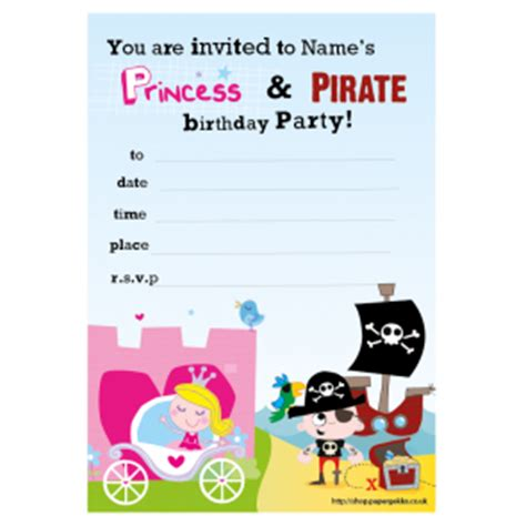 free princess and pirate invitation template paper gekko personalised children s packs