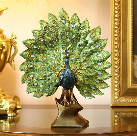 european home decor european style peacock spreading feathers resin luxury