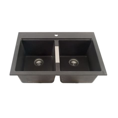 black composite kitchen sink composite granite double kitchen sink black rona