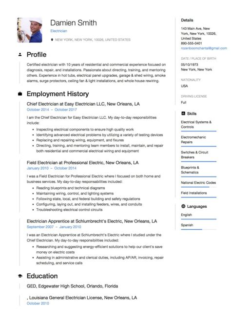 Guide Electrician Resume Sles 12 Exles Pdf Word 2019 Sle Business Resume Template