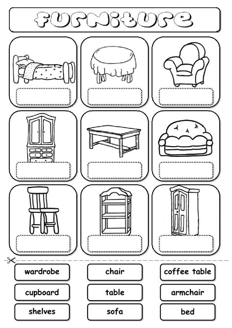 home design worksheet furniture drag and drop interactive worksheet