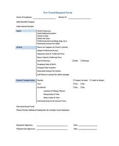 travel request form template sle travel request form 9 free documents in