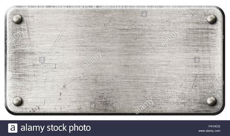 Metal Plate grunge steel metal plate with rivets isolated stock photo