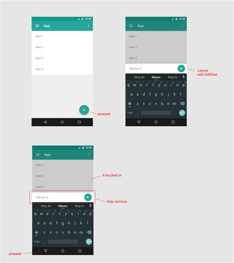 android layout focus android add layout at bottom with edit text on it and