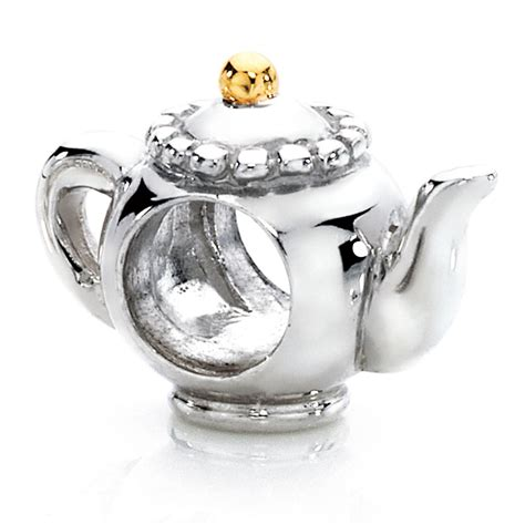 10ct yellow gold sterling silver teapot charm