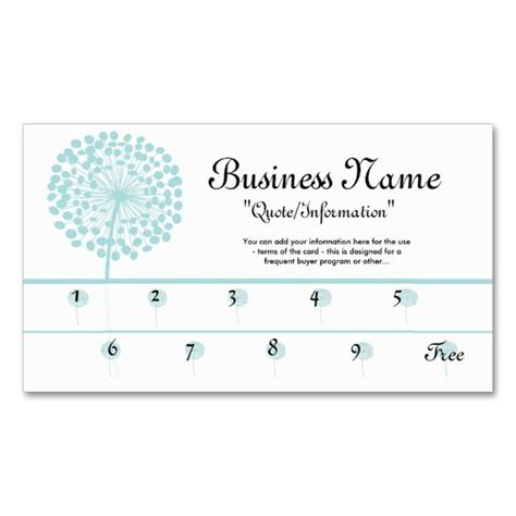 standard business card template blue dandelion loyalty cards frequent buyer sided