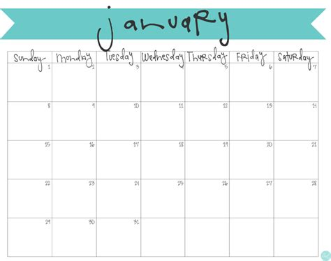 Monthly 2017 Calendar Printable Free january 2017 calendar free printable live craft eat