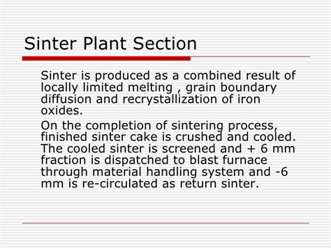 sinter plant process flow diagram material in iron